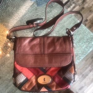 Fossil cross body BoHo patchwork leather bag